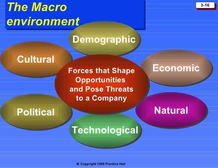 the managers macro enviroment Macro environmental elements include technological, legal-political, economic, sociocultural and international variables macro environmental elements occur outside of an organization, thereby making them difficult to control within the organization itself, according to the encyclopedia for business.