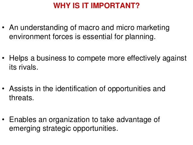 analysis of macro environment marketing essay To reduce the effects of negative factors that can destroy a business, you must understand what macro environment analysis is and how to do it yourself.