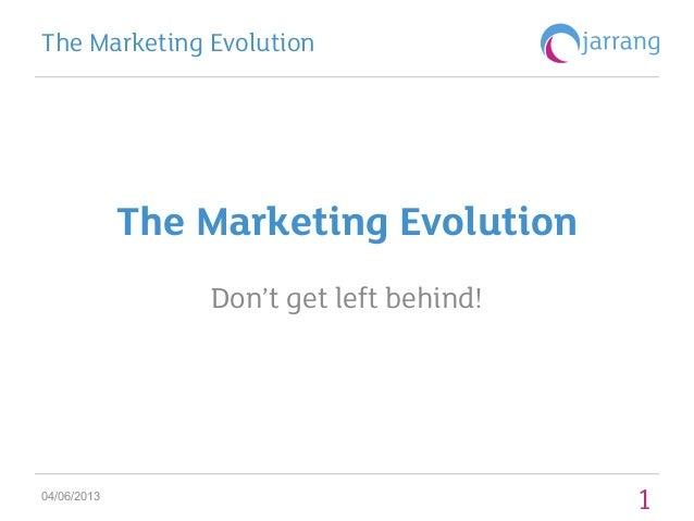 The Marketing Evolution: Don't get left behind
