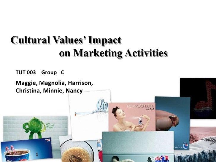 Cultural Values' Impact           on Marketing Activities  TUT 003 Group C  Maggie, Magnolia, Harrison,  Christina, Minnie...