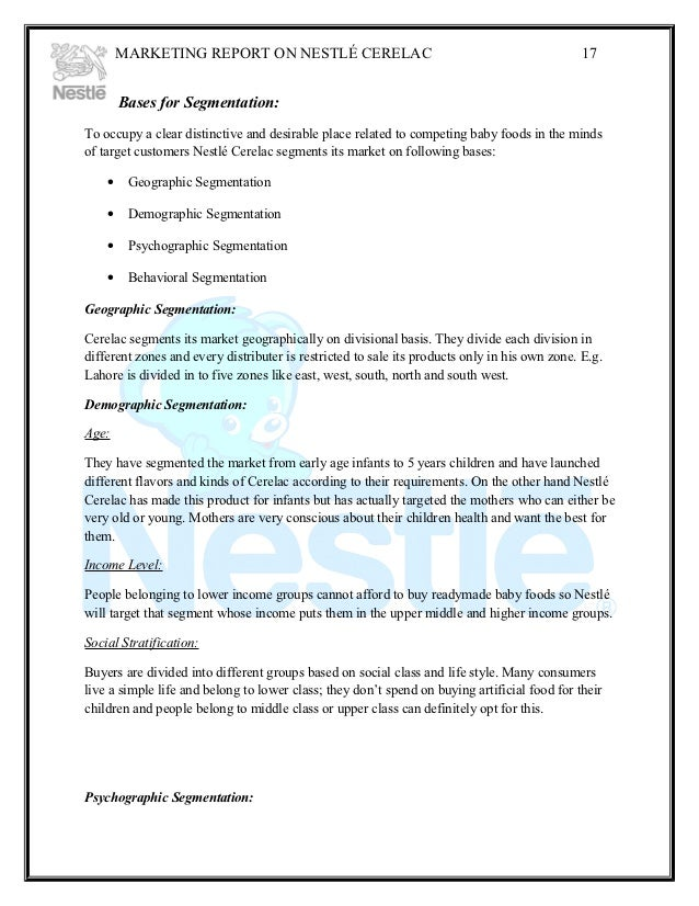 "market segmentation of nestle company Segmentation 7 target market 7 competitors 8 main competitors  essay on nestle marketing plan nestle - company profile ""good food, good life""."