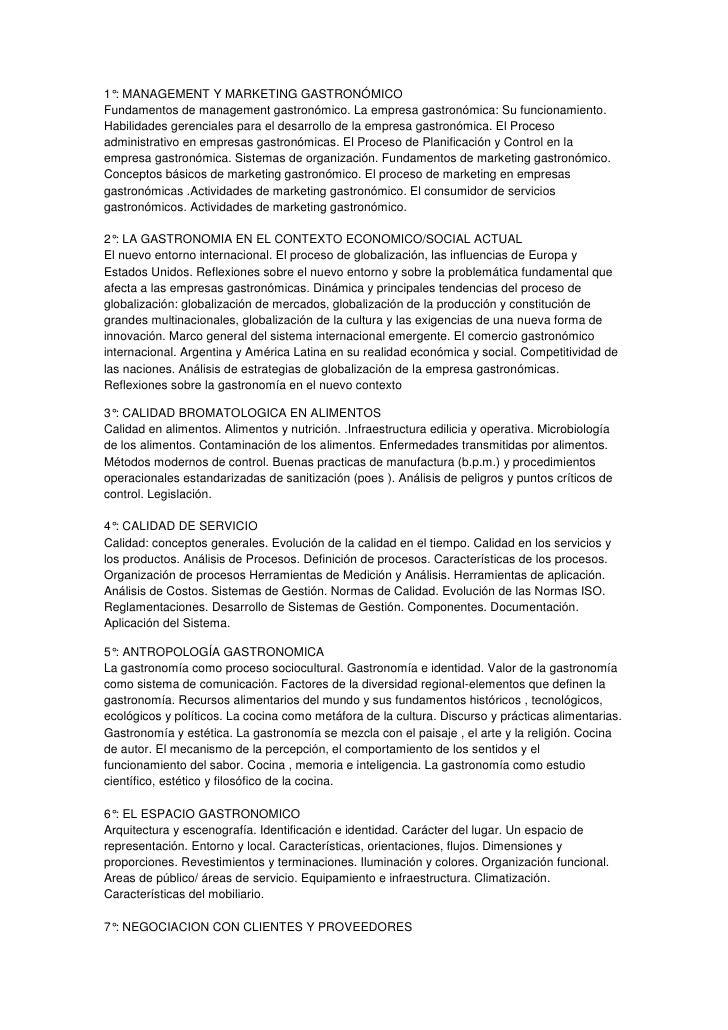1°: MANAGEMENT Y MARKETING GASTRONÓMICOFundamentos de management gastronómico. La empresa gastronómica: Su funcionamiento....