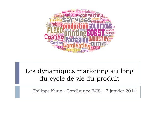 Les dynamiques marketing au long du cycle de vie du produit Philippe Kunz - Conférence ECS – 7 janvier 2014