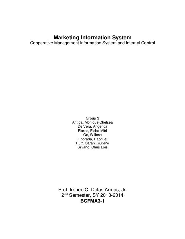 Marketing Information System Cooperative Management Information System and Internal Control Group 3 Antiga, Monique Chelse...