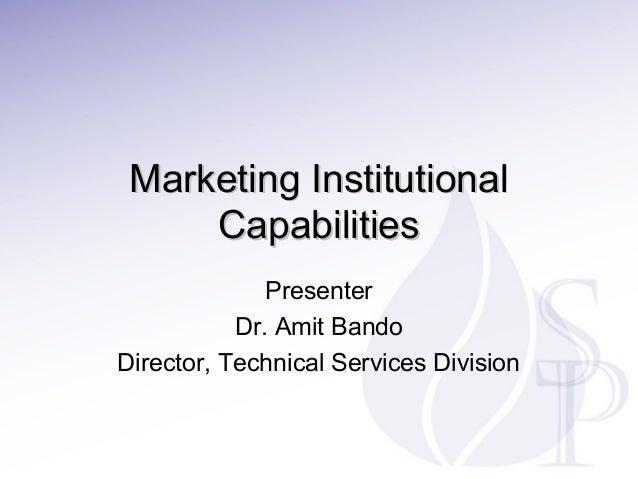 Marketing Institutional Capabilities