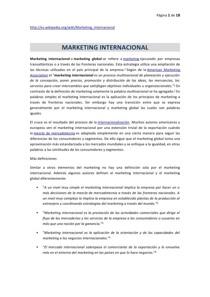 Página 1 de 18http://es.wikipedia.org/wiki/Marketing_internacional                    MARKETING INTERNACIONALMarketing int...