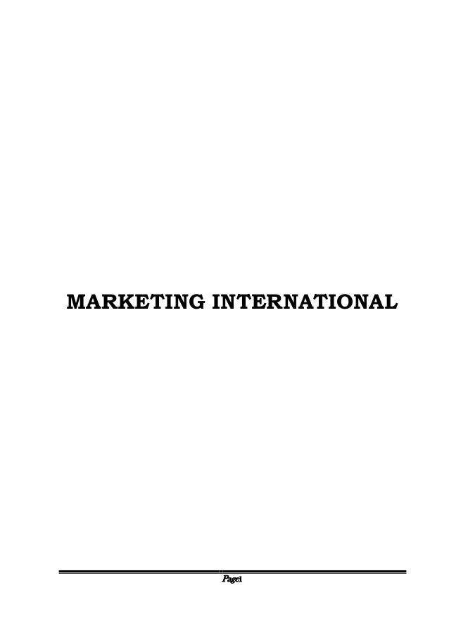 Page1 MARKETING INTERNATIONAL