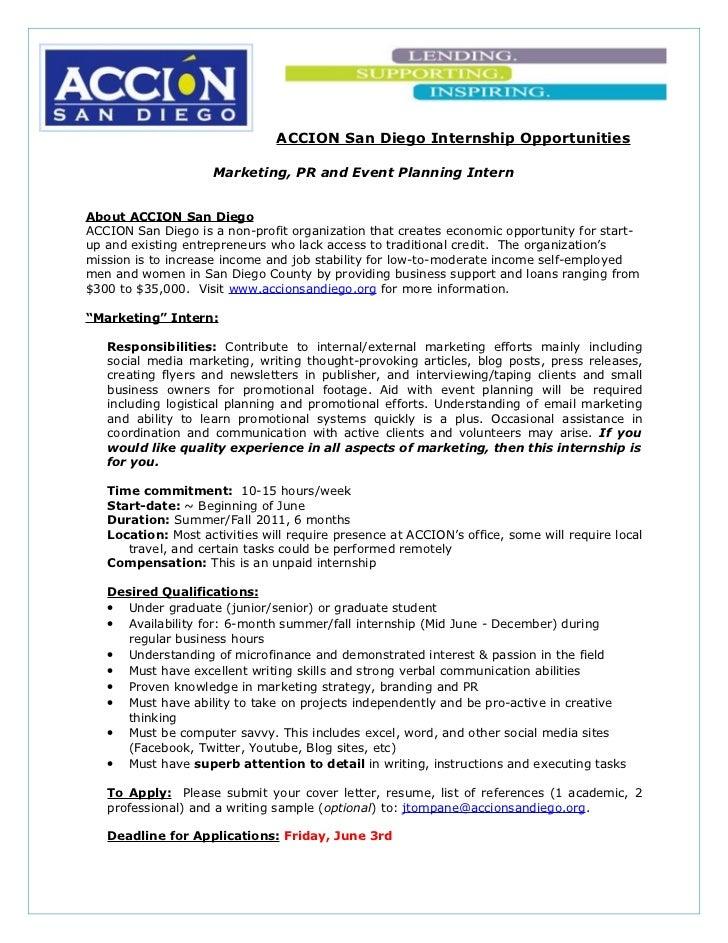 ACCION San Diego Internship Opportunities                     Marketing, PR and Event Planning InternAbout ACCION San Dieg...