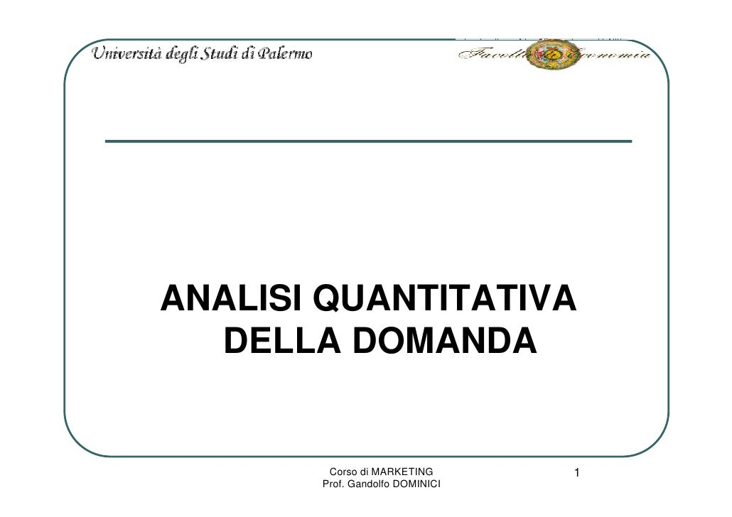 Marketing L4 Analisi Domanda