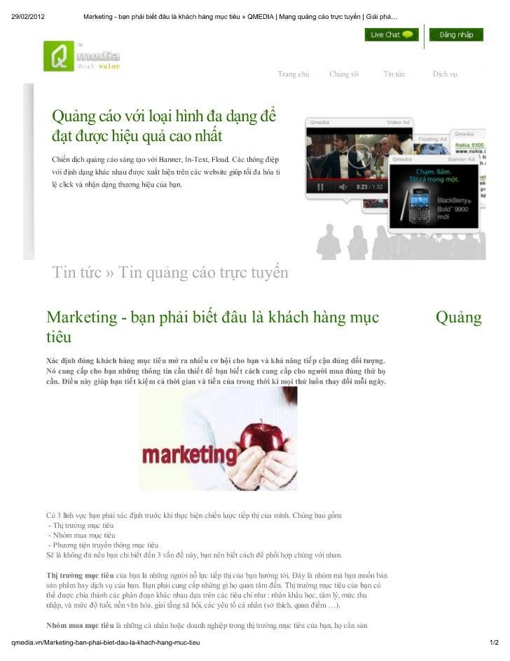 Marketing Lựa chọn khách hàng mục tiêu,tiếp cận đúng đối tượng