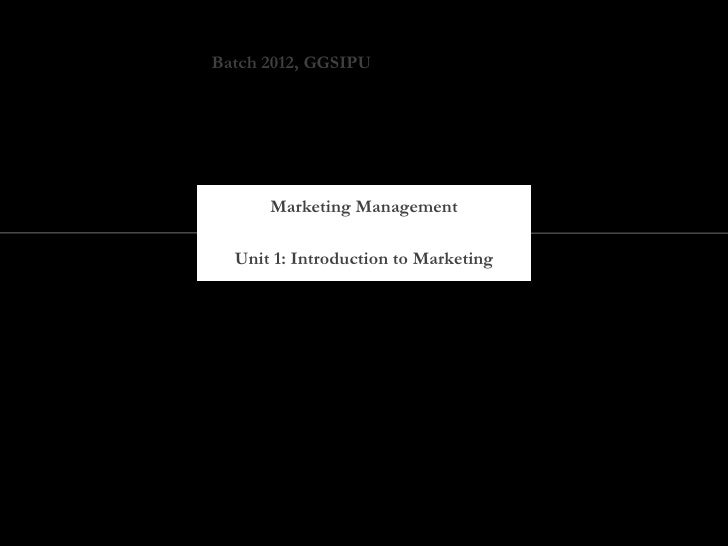 Marketing management   part 1