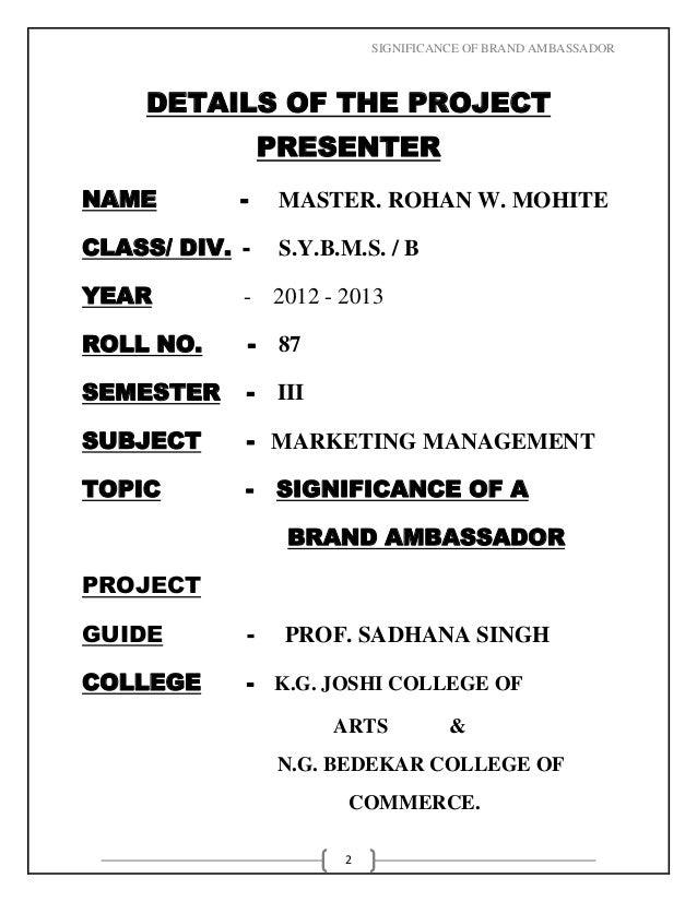 Marketing management brand ambassador