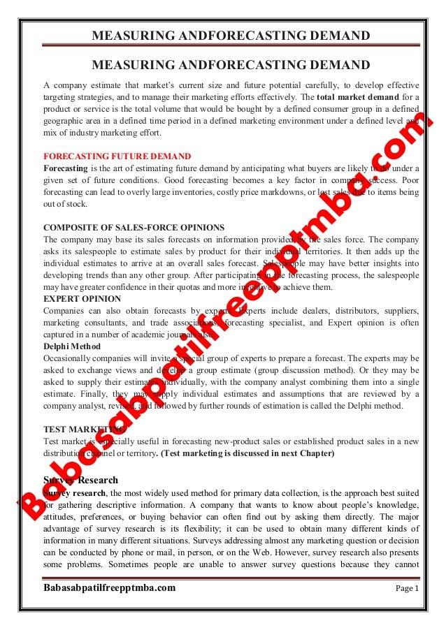 Marketing management module 4  measuring andforecasting demand mba 1st sem by babasab patil (karrisatte)