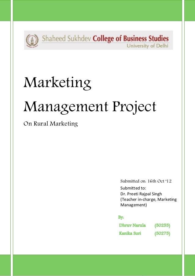 Marketing management_rural marketing