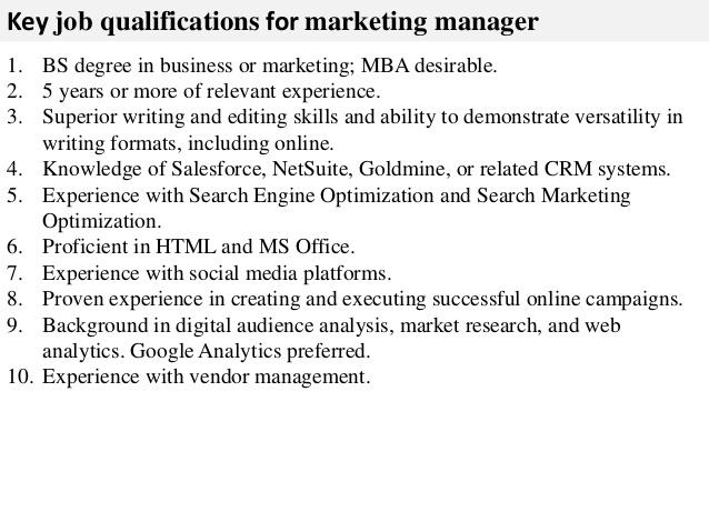 marketing manager job description