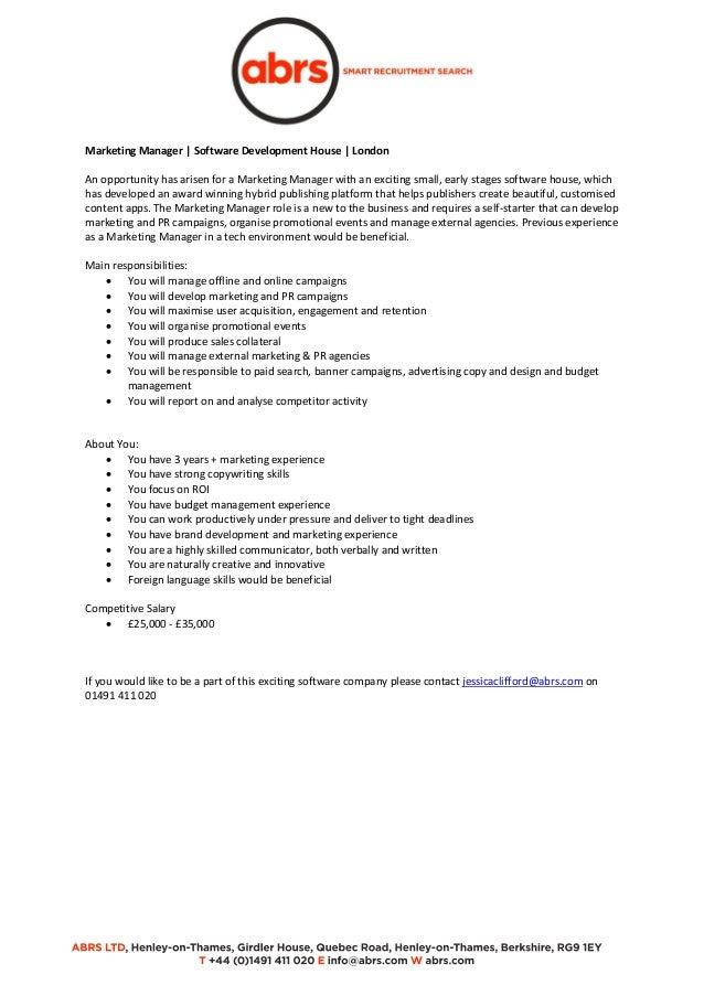 Marketing Manager Software Development House