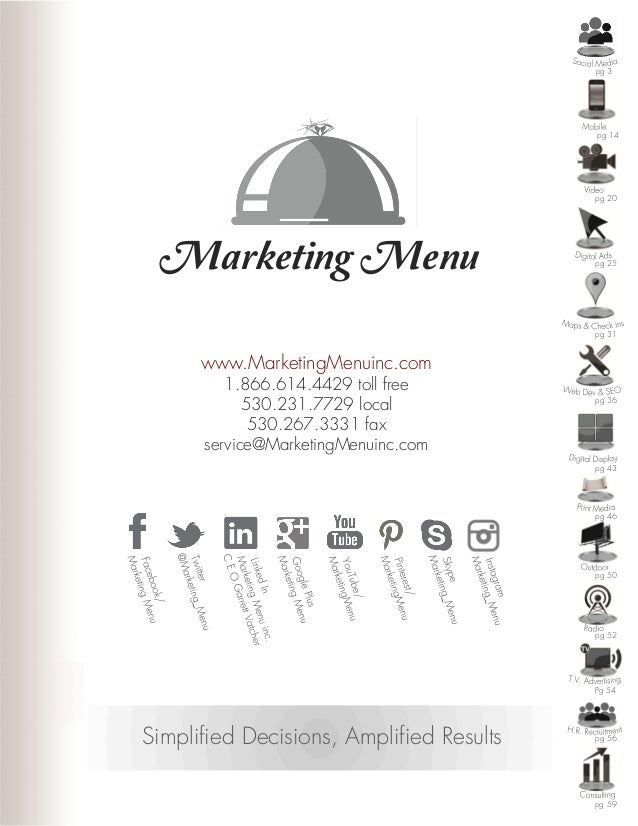 Marketing Menu www.MarketingMenuinc.com 1.866.614.4429 toll free 530.231.7729 local 530.267.3331 fax service@MarketingMenu...