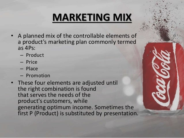product mix for coca cola Coca cola is a company established in 1886 by dr john styth pemberton today, this company is known as one of the leading manufacturer in food and beverage industry in order to evaluate the current situation of any company and to analyze their position for the future outcomes, marketing mix is known as one of the best tool.