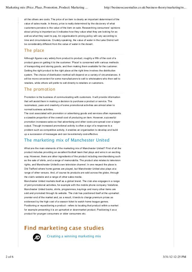 business case studies marketing mix