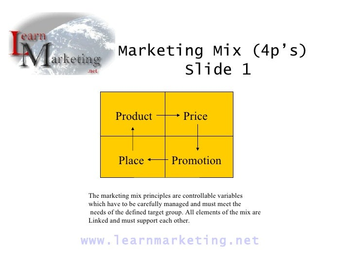 Product Price Place Promotion Marketing Mix (4p's)  Slide 1 www. learnmarketing .net The marketing mix principles are cont...