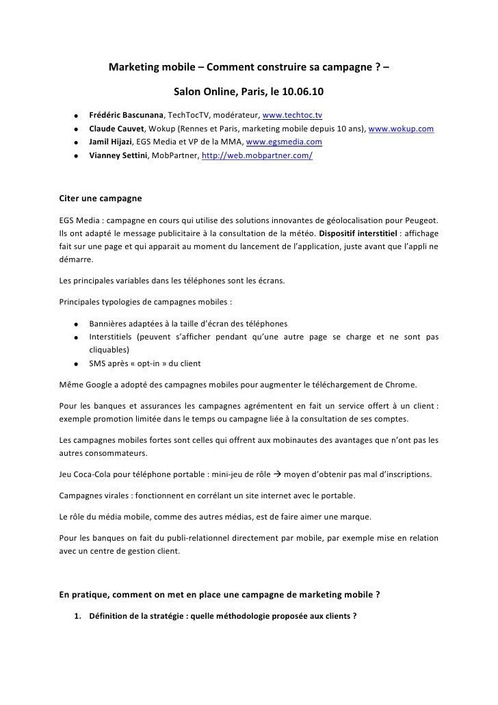Marketing mobile – Comment construire sa campagne? –<br />Salon Online, Paris, le 10.06.10<br />Frédéric Bascunana, TechT...