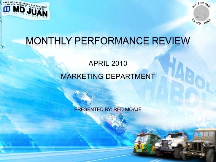 Marketing MPR Report April 2010