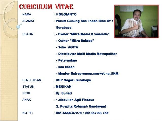 CURICULUM VITAENAMA         : H SUGIANTOALAMAT       : Perum Gunung Sari Indah Blok AY / 1              SurabayaUSAHA     ...