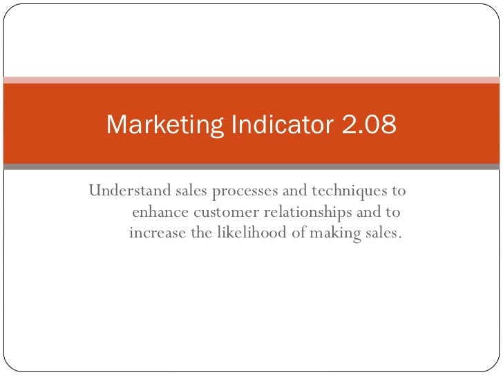 Marketing Indicator 2.08Understand sales processes and techniques to     enhance customer relationships and to    increase...