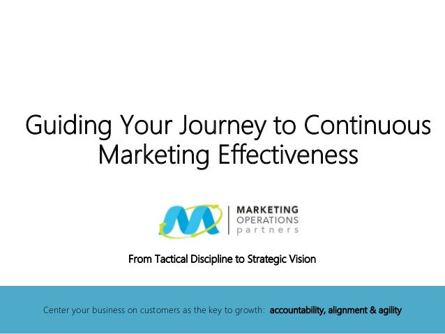 Guiding Your Journey toContinuous Marketing EffectivenessFrom Tactical Discipline to Strategic Vision