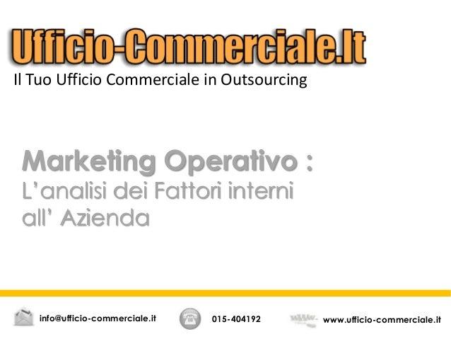 Marketing Operativo, analisi dei fattori interni all'azienda