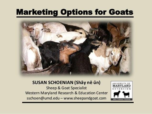 Marketing Options for Goats SUSAN SCHOENIAN (Shāy nē ŭn) Sheep & Goat Specialist Western Maryland Research & Education Cen...