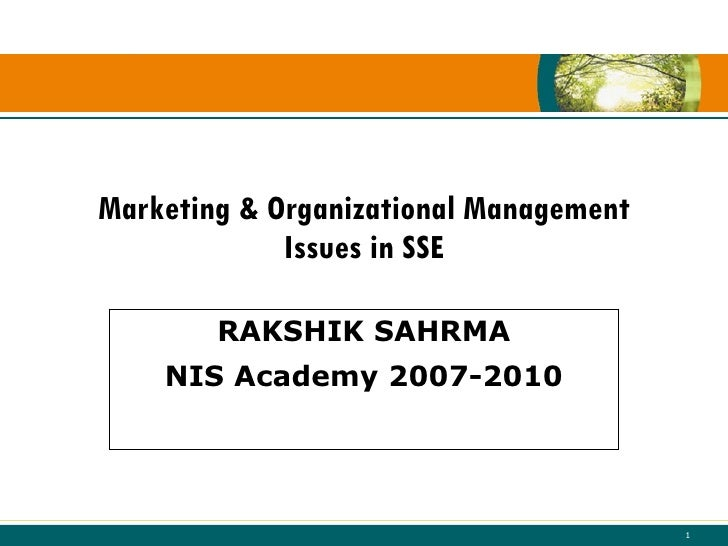 Marketing & Organizational Management Issues In Sse