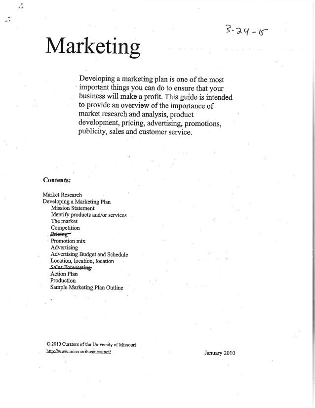 Marketing overview handout for Marketing handouts
