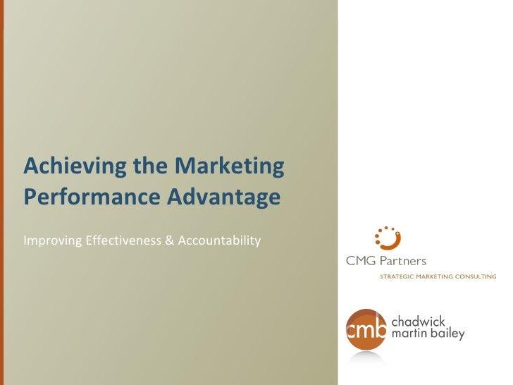 Getting the Marketing Performance Advantage
