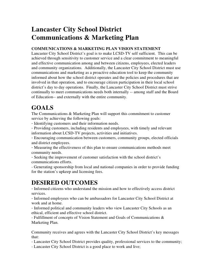 Lancaster City School District Communications & Marketing Plan COMMUNICATIONS & MARKETING PLAN VISION STATEMENT Lancaster ...