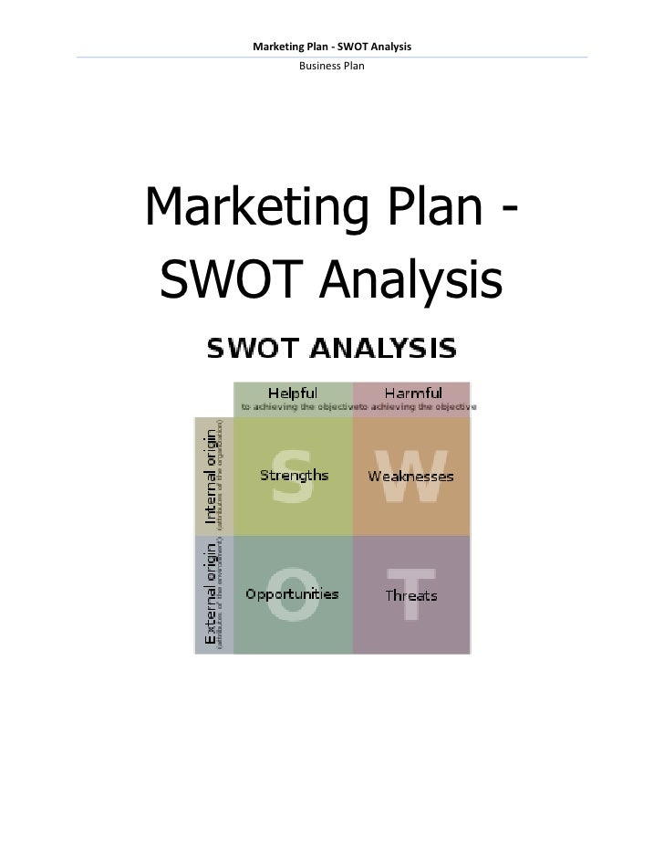 Marketing Plan - SWOT Analysis            Business PlanMarketing Plan -SWOT Analysis