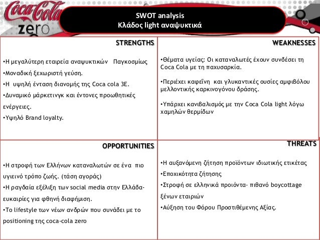 coca cola zero swot analysis Situation analysis (swot) strengths 1 the best global brand in the world in terms of value 2 world's largest market share in beverage 3 strong marketing and advertising.