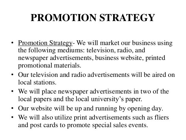 report for the promotional plan of
