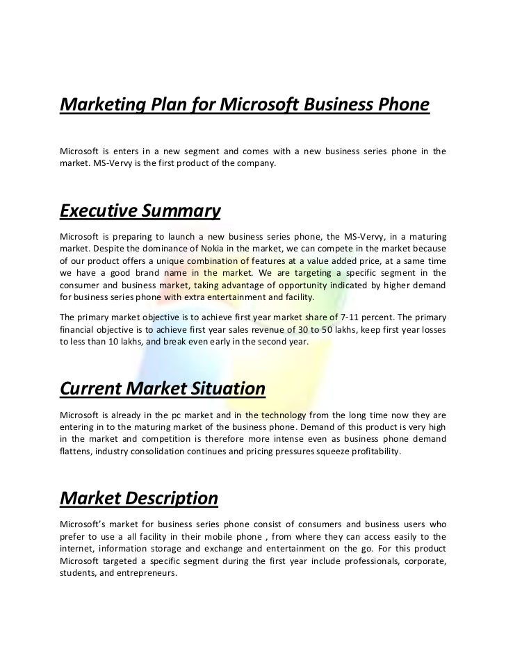 Marketing plan for a new business