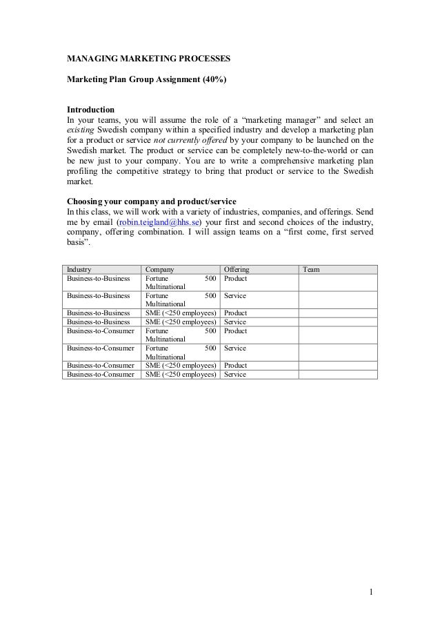 Managing Marketing Processes_Marketing Plan Assignment