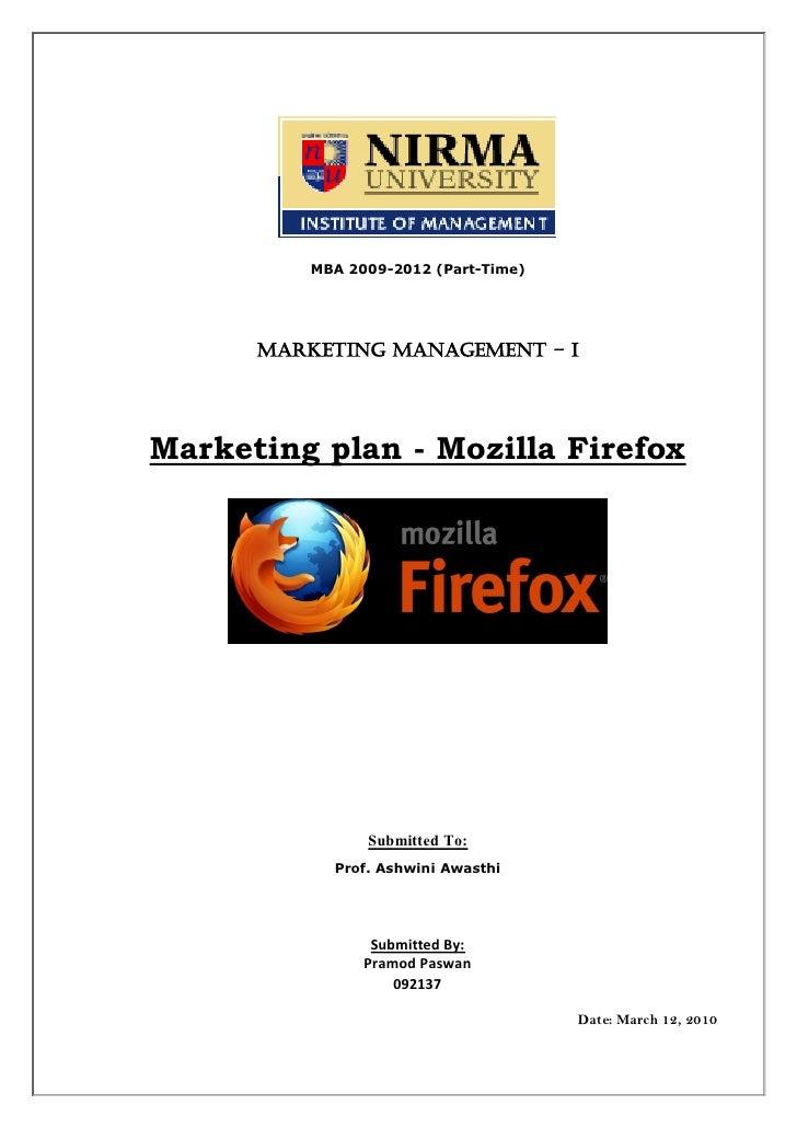 Marketing plan mozilla firefox