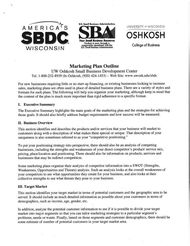 Marketing plan outline handout for Marketing handouts