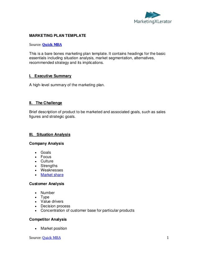 Basic Marketing Plan Template (by QuickMBA.com)