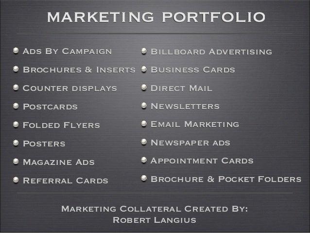 marketing portfolioAds By Campaign       Billboard AdvertisingBrochures & Inserts   Business CardsCounter displays      Di...