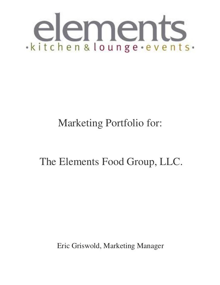 Marketing Portfolio for the Elements Food Group
