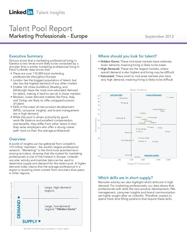 2012 Europe Marketing Professionals | Talent Pools