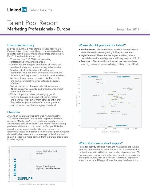 2012 Europe Marketing Professionals | Talent Pools
