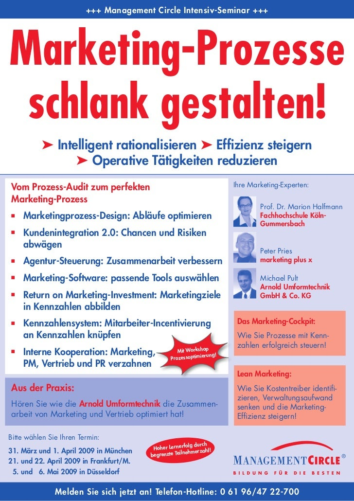 +++ Management Circle Intensiv-Seminar +++     Marketing-Prozesse  schlank gestalten!           ➤ Intelligent rationalisie...
