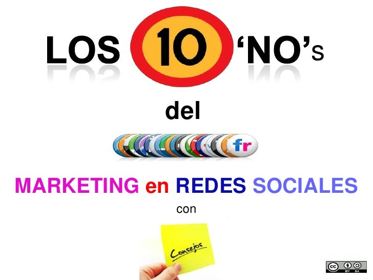 'NO'<br />Los<br />s<br />del<br />MARKETING enREDESSOCIALES<br />con<br />