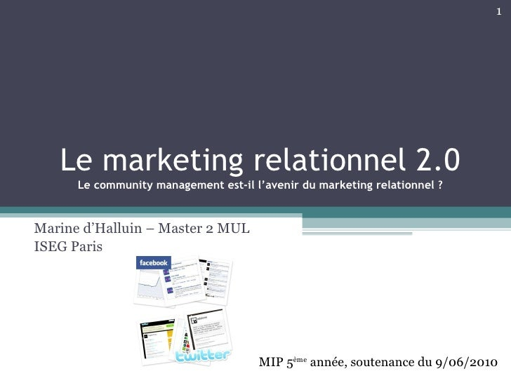 Le marketing relationnel 2.0 Le community management est-il l'avenir du marketing relationnel ? Marine d'Halluin – Master ...